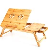 Бамбуковый столик для ноутбука и завтрака с вентилятором