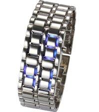 Диодные LED часы браслет Самурай серебристые/синие